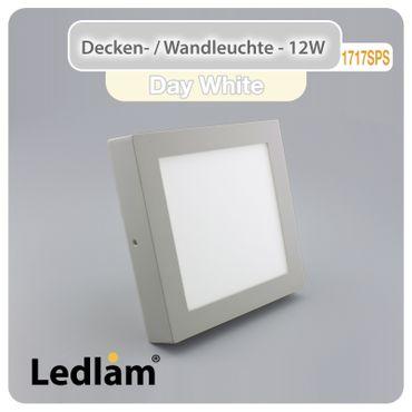 LED Deckenleuchte silber quadratisch 17*17cm 12 Watt (80 Watt) 960 Lumen 4100K neutralweiß