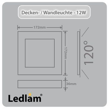 LED Deckenleuchte silber quadratisch 17*17cm 12 Watt (80 Watt) 960 Lumen 4100K neutralweiß – Bild 3