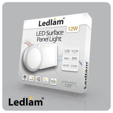 LED Deckenleuchte silber rund Ø 17cm 12 Watt (80 Watt) 960 Lumen 4100K neutralweiß – Bild 2
