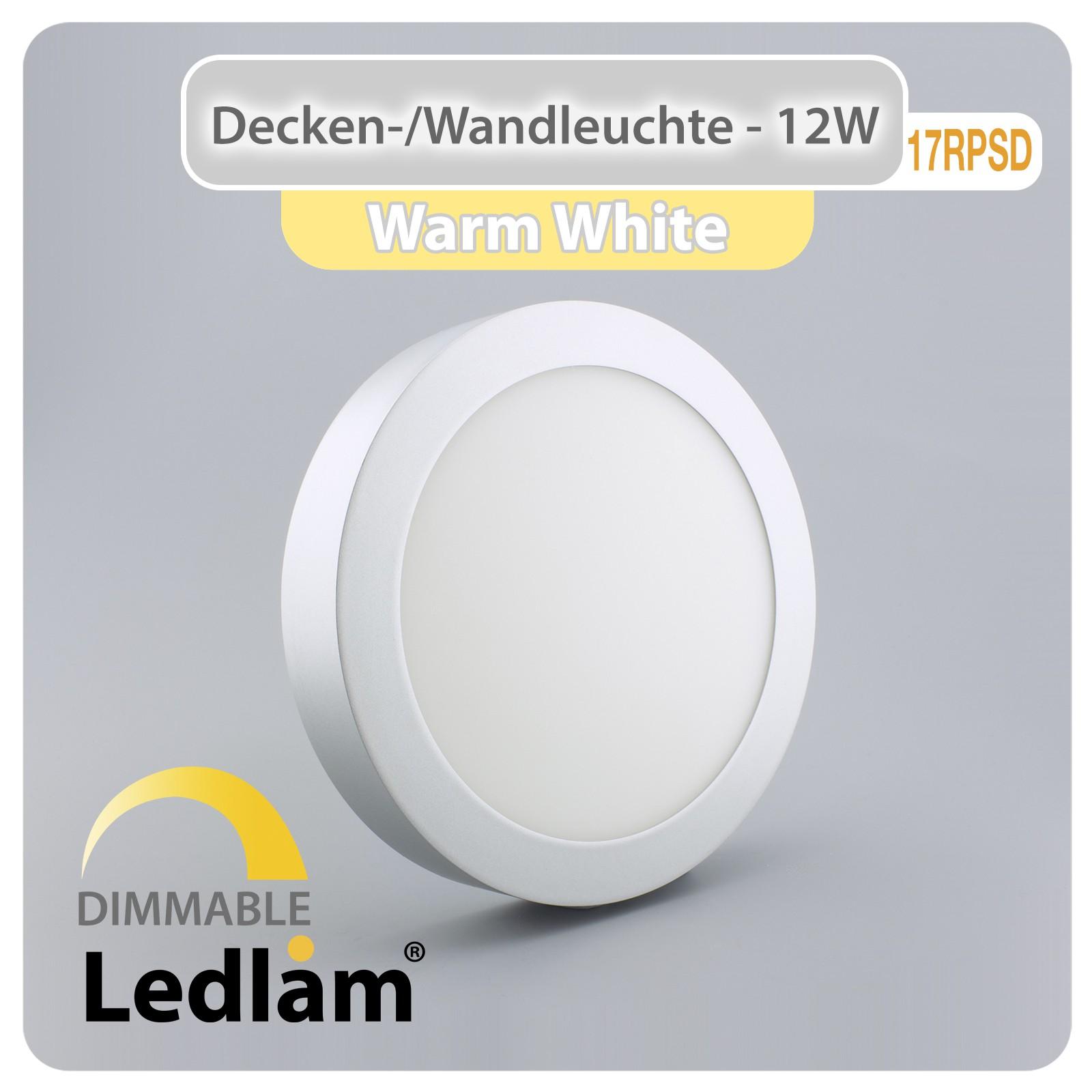 led deckenleuchte silber rund 17cm 12 watt 80 watt 960 lumen 3000k warmwei dimmbar mit led. Black Bedroom Furniture Sets. Home Design Ideas