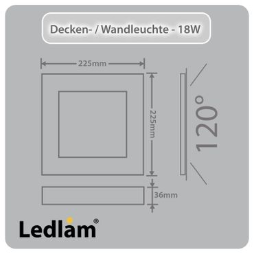 LED Deckenleuchte Wandleuchte silber quadratisch 22*22cm 18 Watt (120 Watt) 1440 Lumen 6000K tageslichtweiß dimmbar mit LED Dimmer – Bild 3