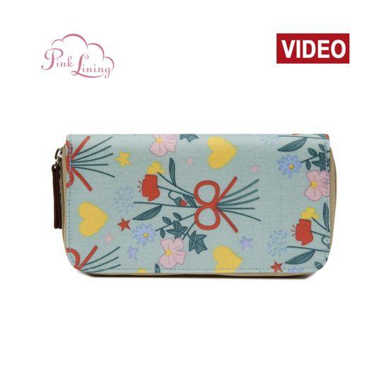 Pink Lining Wallet Blue Bouquet Geldbörse