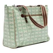 Pink Lining Bramley Tote Cream Bows on Peppermint Wickeltasche