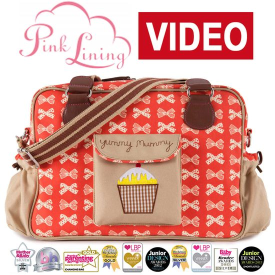 Pink Lining Yummy Mummy Wickeltasche Cream Bows on Red