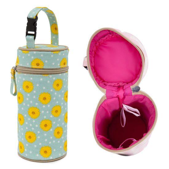 Pink Lining Bottle Holder Sunflowers Flaschenwärmer