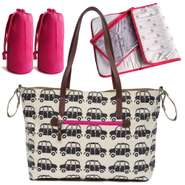 Pink Lining Wickeltasche Notting Hill Tote London Cabs