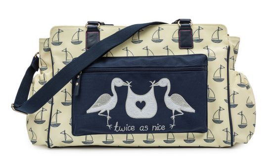 "Pink Lining Wickeltasche Twins Bag ""Twice as Nice"" Sailing Boats"