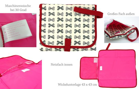 Rar! Pink Lining Waschbare Wickelunterlage Waschable Changing Station Grey Bows