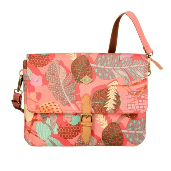 Oilily Schultertasche M Flat Shoulder Bag Botanic Pop Pink Flamingo