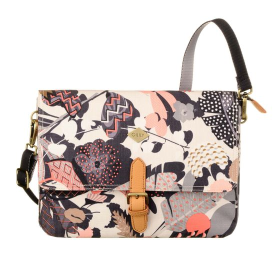 Oilily Schultertasche M Flat Shoulder Bag Botanic Pop Charcoal