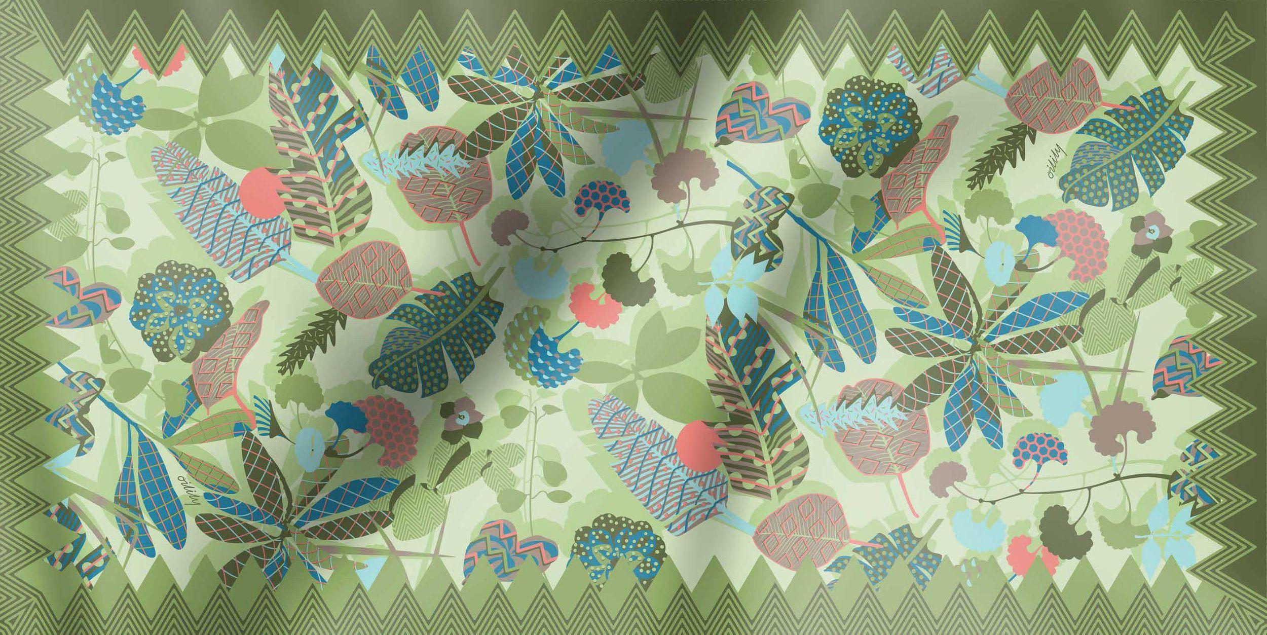 100/% Polyester Oilily Schal Tuch Botanic Pop Nori Green 100 x 200 cm