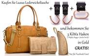 Superkombi: Storksak Wickeltasche Elizabeth Leder Tan Cognac+3 Kinderwagenhaken von Think King in Gold