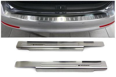 Stainless steel door sills and bumper protector fits for Skoda Octavia II Combi