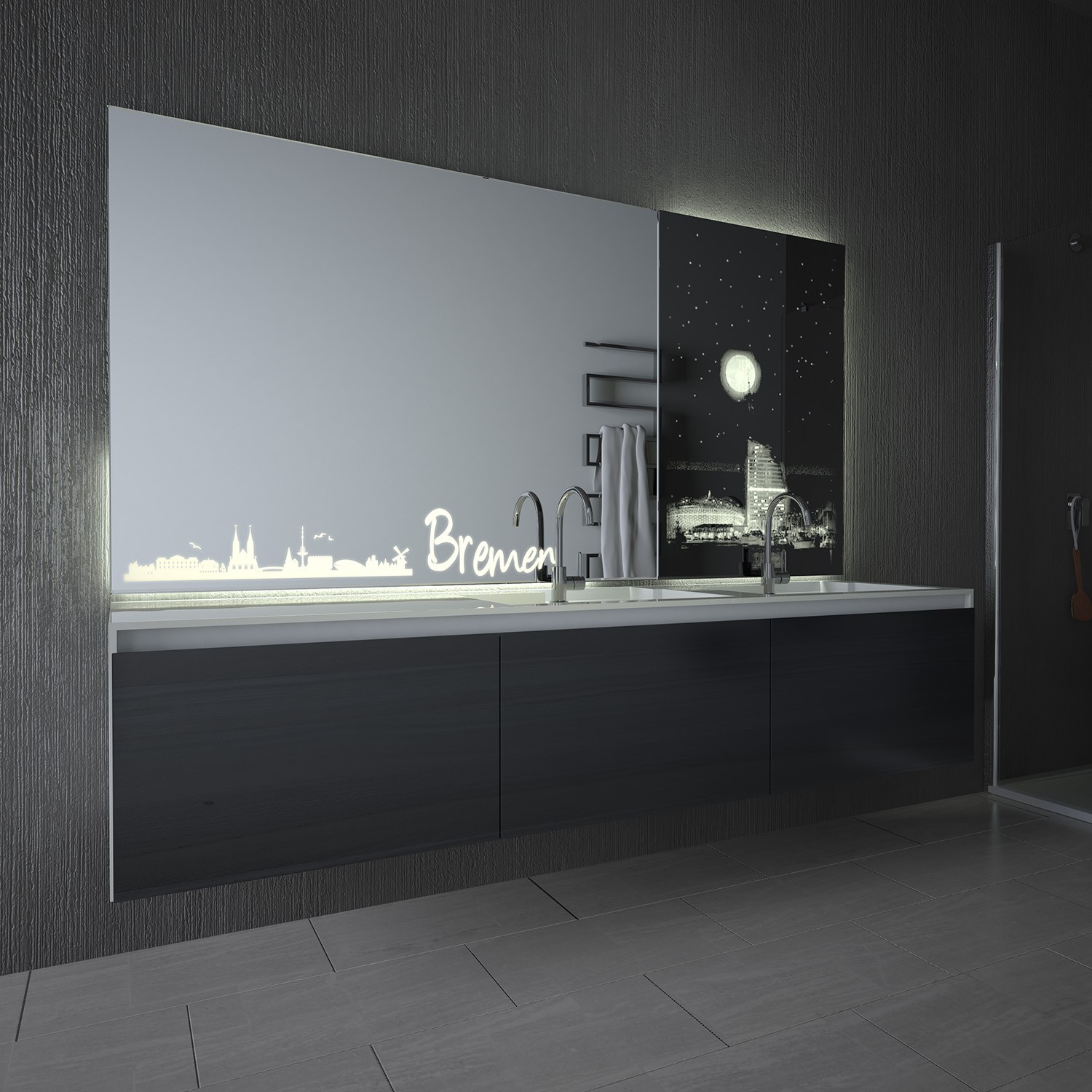 lackierter badezimmerspiegel mit led bremen exklusive. Black Bedroom Furniture Sets. Home Design Ideas