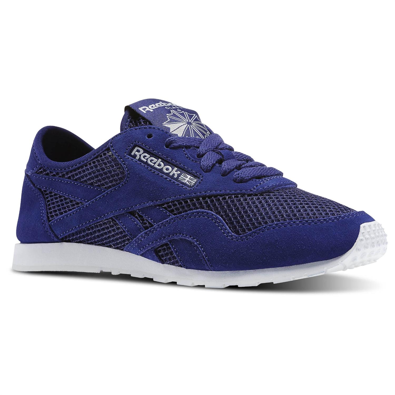 hot sale online 8dcf5 dfb4c Details about Reebok Classic Nylon Slim Mesh Retro Sneaker Sport Shoes  Trainers blue V71884