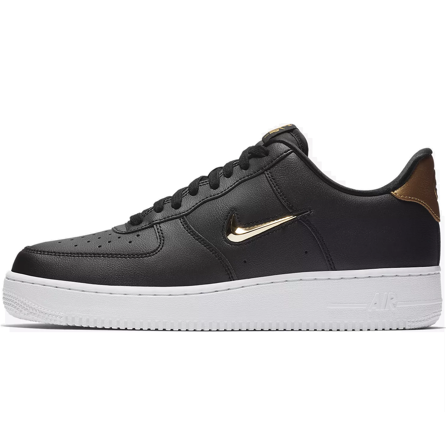 3ebcdd02daa0cf Nike Air Force One 1 07 LV8 Leather Special Edition Sneaker schwarz weiß  gold