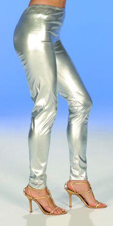Kostüm Leggins gold oder silber Glanzleggins Gr.36 40 44 super Karneval Fasching – Bild 3