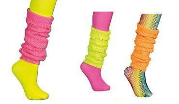 Strickstulpen Stulpen 80er Jahre neonfarben Beinstulpen Karneval Fasching – Bild 1