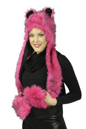 Plüschmütze m. Handwärmern pink o grau Plüsch Mütze Katze Wolf Karneval Fasching – Bild 4