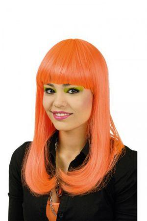 Langhaarperücke mit Pony neon pink orange o. grün Hippie Party Karneval Fasching – Bild 6