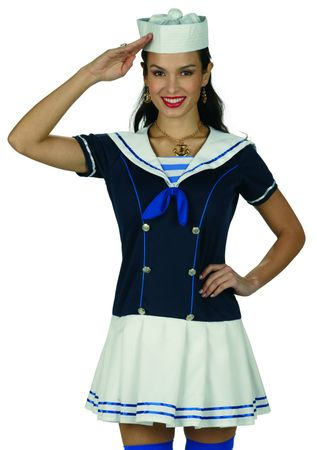 Kostüm Matrosin Damen Sailor Girl Marine Kleid Matrosenkleid Karneval Fasching – Bild 2