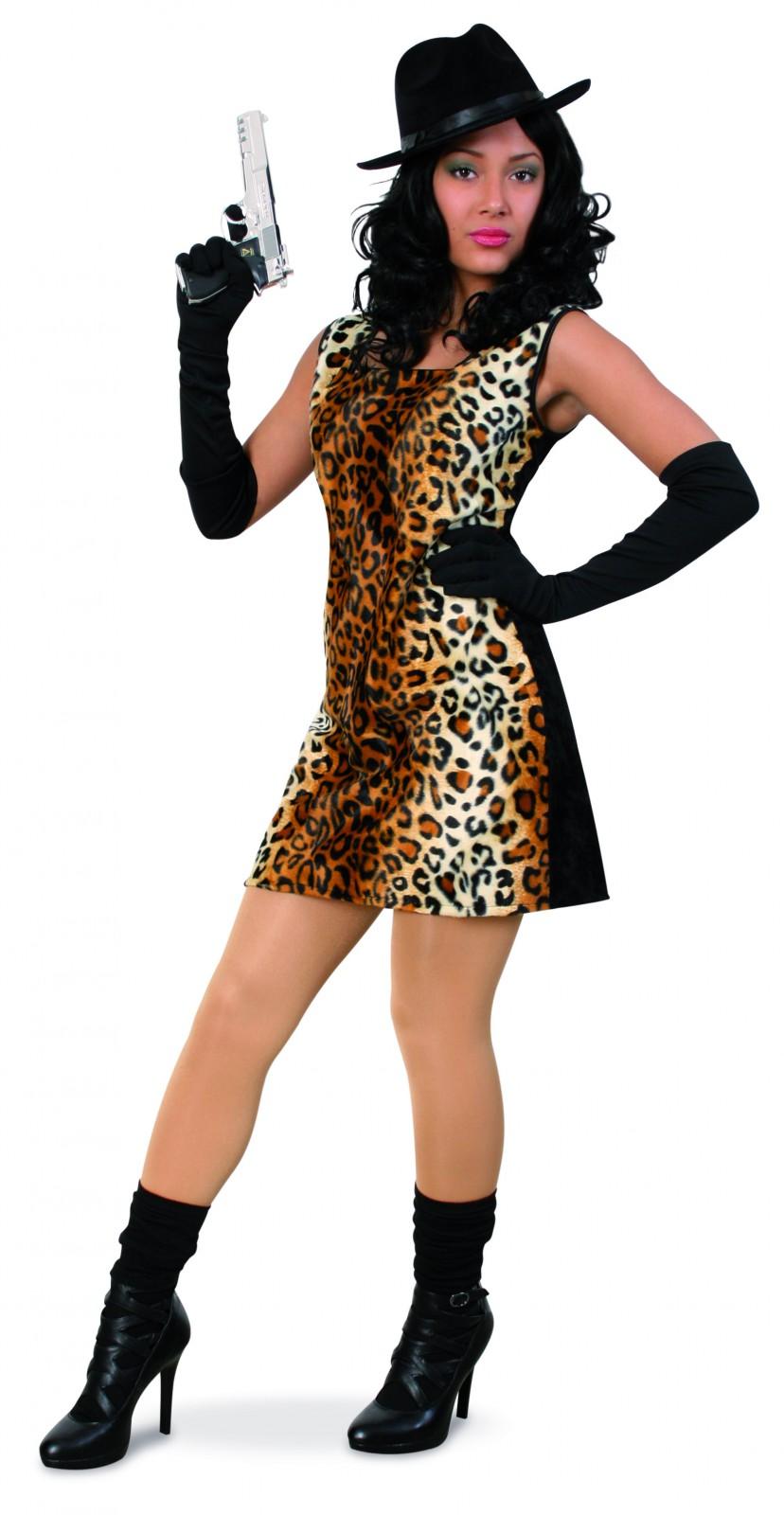 kost m cat katze kleid leopardenmuster gangster lady. Black Bedroom Furniture Sets. Home Design Ideas