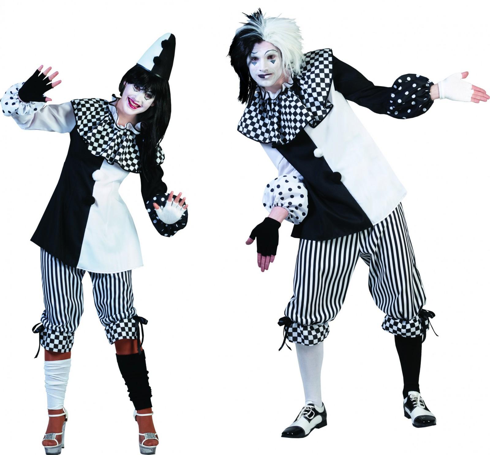 Kostum Pierrot Harlekin Clown Pantomime Damen Herren Fasching