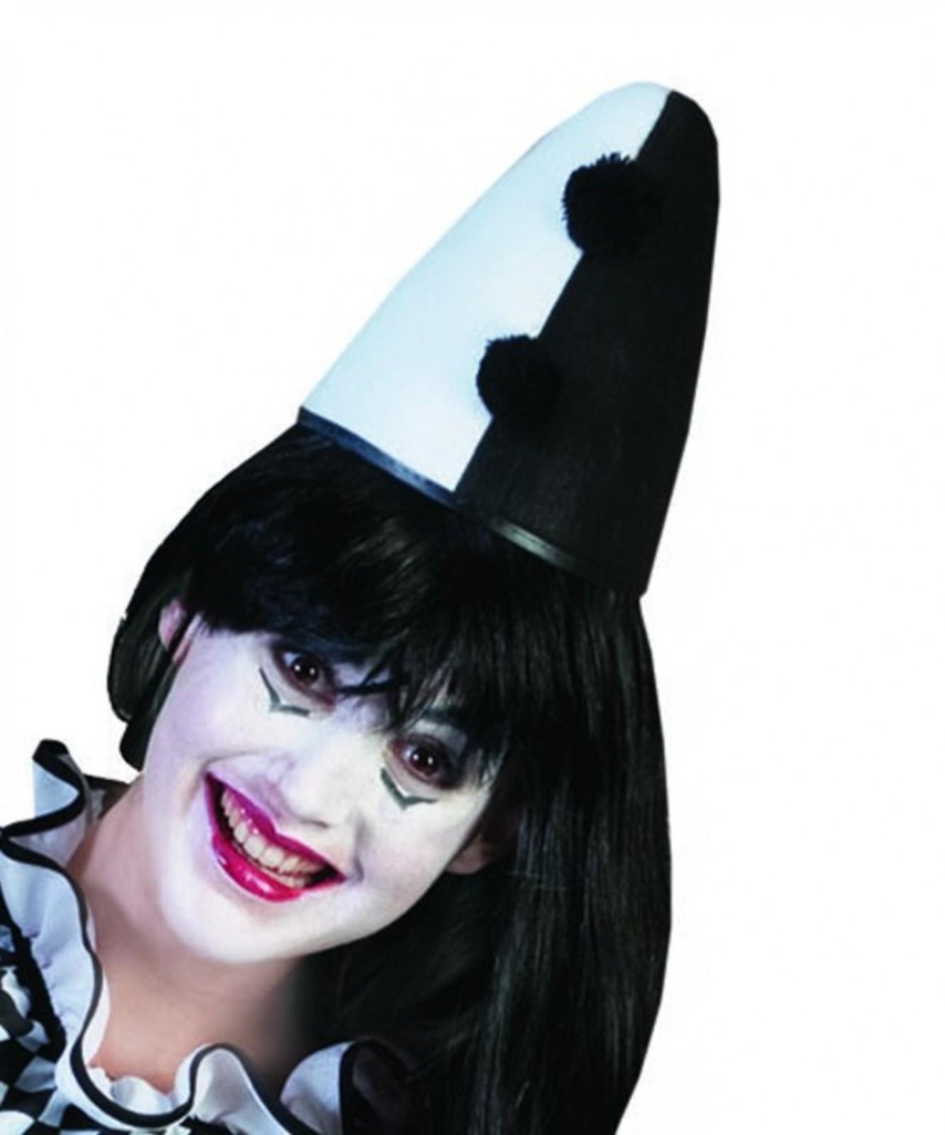 Hut Kappe Pierrot Harlekin Clown Schwarz Weiss Od Silber Karneval