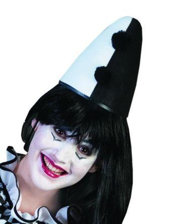 Hut Kappe Pierrot Harlekin Clown schwarz weiß od silber Karneval Fasching – Bild 4