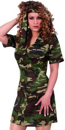 sexy Kostüm Army Kleid m. Stirnband Camouflage Kämpferin JGA Karneval Fasching – Bild 1