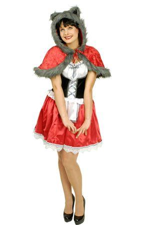 Rotkäppchen Kostüm m. Wolfspelz Gr.36-46 Cosplay Märchen Karneval Fasching  – Bild 1