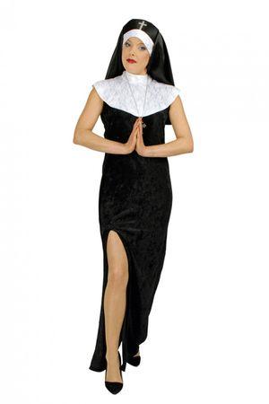 Kostüm Nonne Dame Ordensschwester schwarzes Nonnenkostüm Kirche Halloween – Bild 1