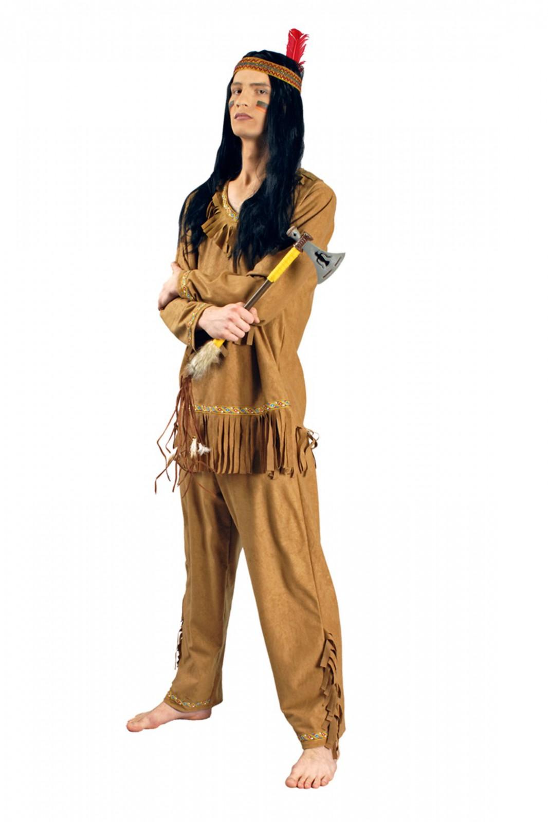 Indianer Perücke Herren Pirat Hippie Barbar Hunne schwarz Indianer Karneval