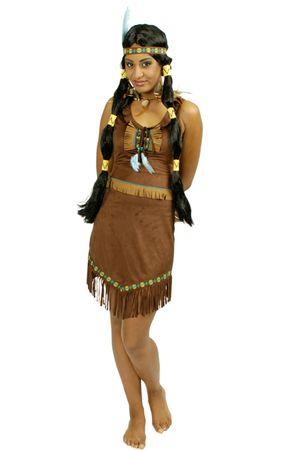 Kostüm Indianerin braunes Indianerkleid Wildlederoptik Western Karneval Fasching – Bild 1