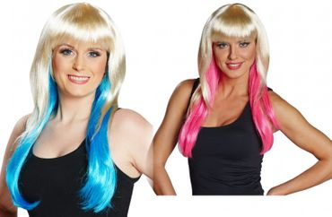 Langhaarperücke blond mit Strähnen in pink oder blau Cosplay Wig Ombré Karneval  – Bild 1