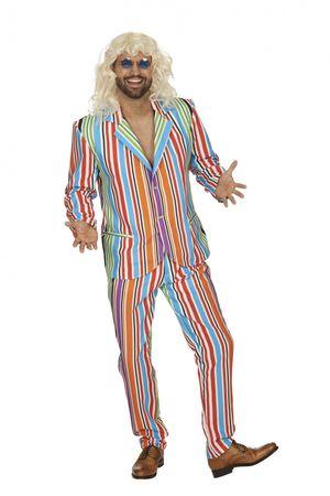 Kostüm gestreifter Anzug Shaggy Retro Party Schlager Gr.46-56 Karneval Fasching NEU