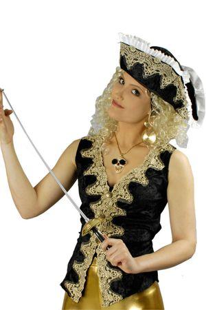 Kostüm Piratenweste Piratin Seeräuberin Samtweste Reiterin Gr.36-46 Karneval – Bild 2