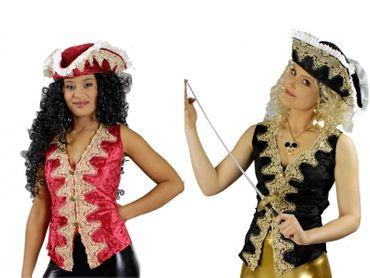 Kostüm Piratenweste de Luxe Piratin Samtweste Reiterin Gr.36-46 Karneval – Bild 1
