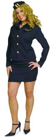 süßes Kostüm Stewardess Flugbegleiterin Uniform Hostess 3tlg. Gr.36-42 Fasching – Bild 1