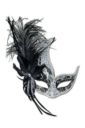 Maske Guilia schwarz/silber m. Federn Maskenball Venezia Karneval Halloween NEU – Bild 1