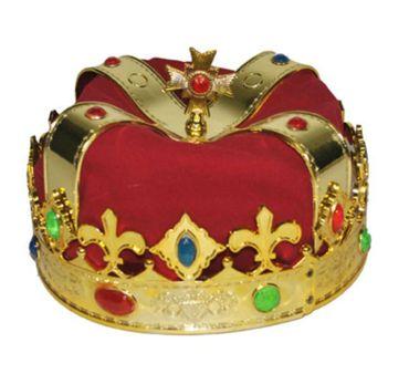Samt Krone König rot reich verziert gold rot Königskrone Karneval Märchen – Bild 1