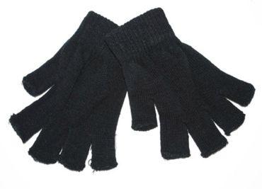 schwarze Handschuhe fingerlos Strick Pierrot Harlekin Pirat Punker Karneval – Bild 1