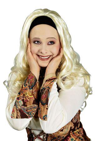 Romy Perücke Langhaarperücke m Stirnband blond o braun Hippie Karneval Fasching – Bild 4