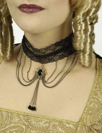 Kostüm Accessoires schwarze Kette Gothic Barockkette Karneval Fasching Halloween – Bild 3
