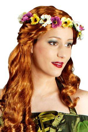 bunter Blumenkranz Hippie Haarband Blumen Blütenband Karneval Fasching Kostüm – Bild 1