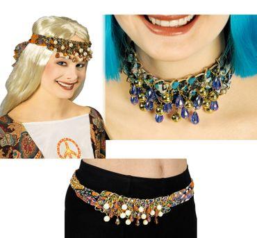 Kostüm Gürtel Halsschmuck Haarschmuck Paisley m Perlen Hippie Kostüm Karneval – Bild 5