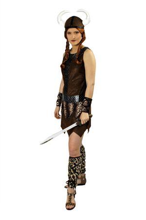 Kostüm Wikingerin Damen Kriegerin Steinzeit 6tlg. Gr.M-XL Karneval Fasching – Bild 1