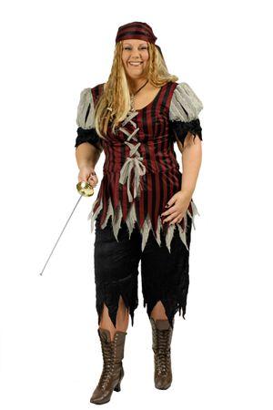 Kostüm Piratin Seeräuberin Piratenkostüm große Größen 3tlg. Gr.44-54 Karneval  – Bild 1
