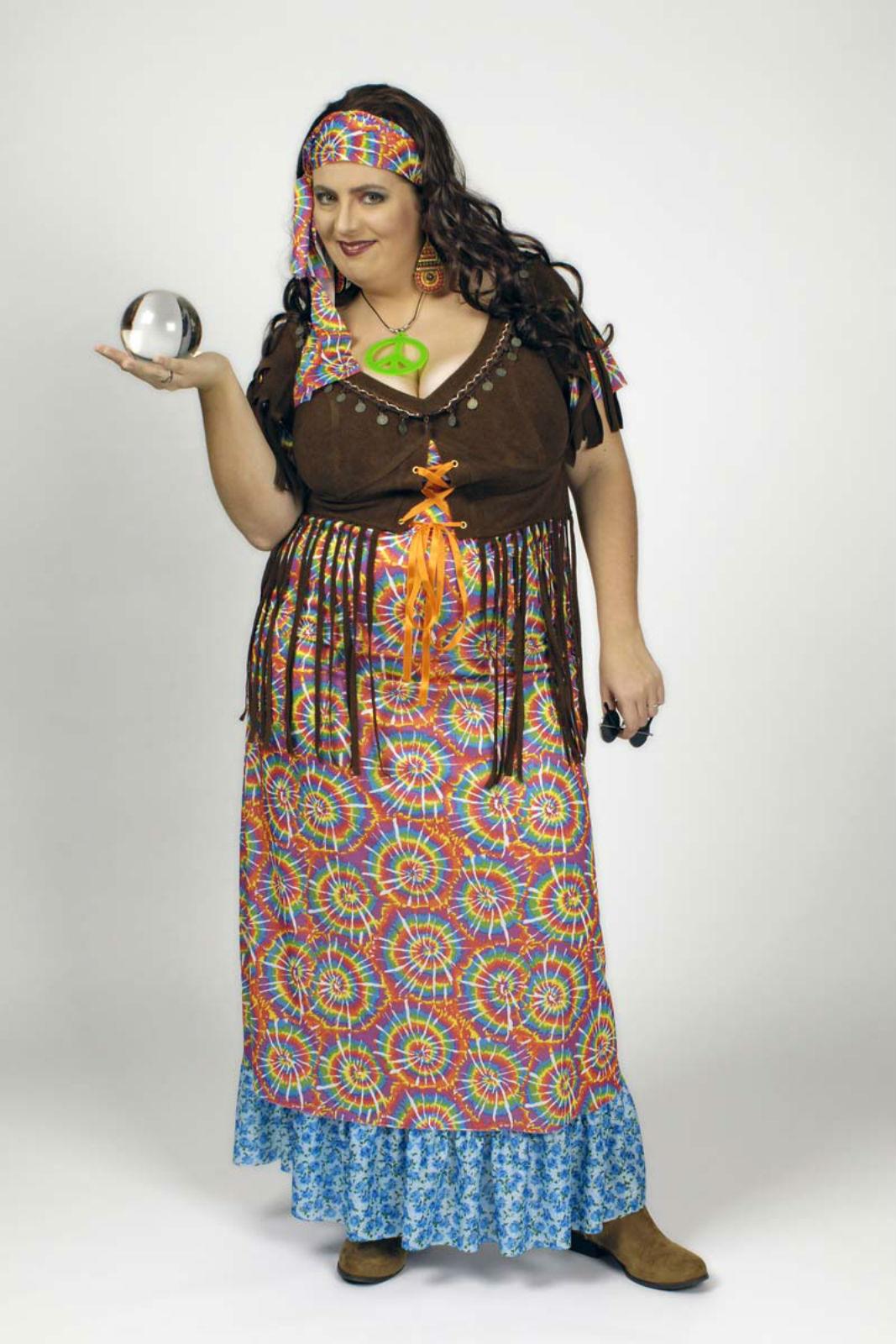 df2133ecc4e Kostüm langes Hippie Kleid Wahrsagerin große Größen 2tlg. Karneval Fasching  – Bild 3