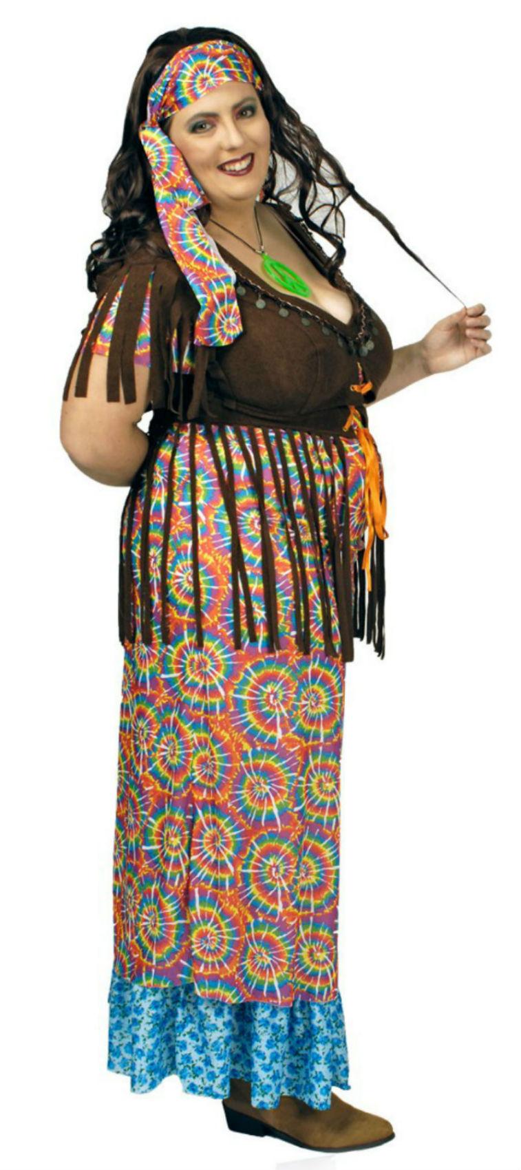 a523ef8e33af Hippie Kostüm Damen langes Kleid Wahrsagerin große Größen Karneval Fasching